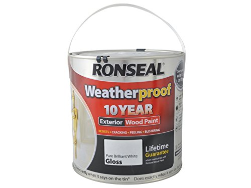 Ronseal Rslwppbwg25l 2.5 Litre Weatherproof Exterior Wood Paint - Brilliant White Gloss