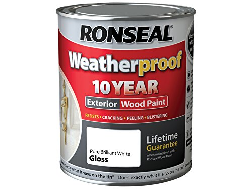 Ronseal Rslwppbwg750 750 Ml Weatherproof Exterior Wood Paint - Brilliant White Gloss