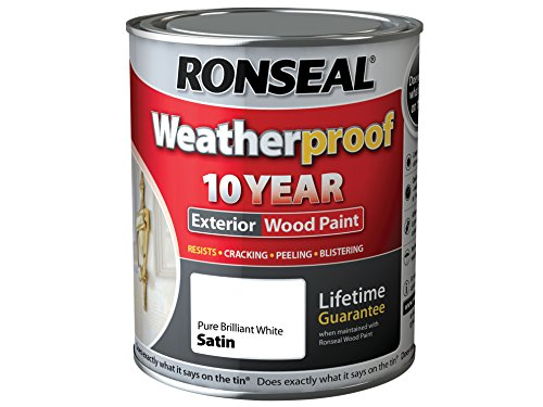Ronseal Rslwppbws750 750 Ml Weatherproof Exterior Wood Paint Brilliant - White/satin