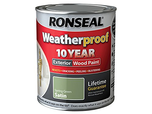 Ronseal Rslwpsgs750 750ml Weatherproof 10 Year Exterior Wood Paint Spring Satin - Green