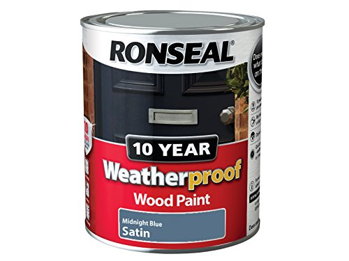 Ronseal Wpmbs750 750 Ml 10 Year Weatherproof Exterior Satin Finish Wood Paint - Blue