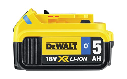 Dewalt Dcb184b 5.0 Ahbluetooth Slide Li-ion Battery Pack, 18 V, Black/yellow
