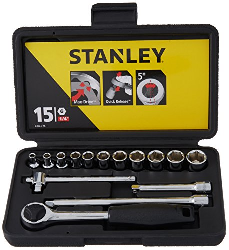 Stanley Socket Set 15pc Metric 1/4sqdr 0 86 775