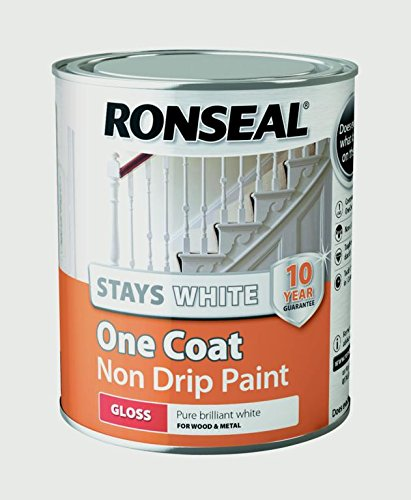 Ronseal Rslocswgp750 One Coat Stays Gloss Paint, White, 750 Ml