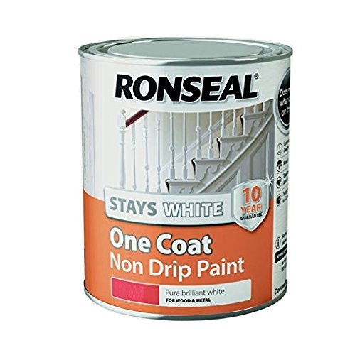 Ronseal Rslocswmp750 One Coat Stays Matt Paint, White, 750 Ml