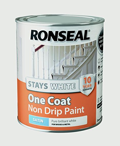 Ronseal Rslocswsp750 Stays Non Drip One Coat Paint, White, 750 Ml