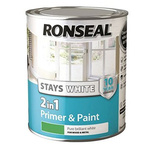 Ronseal Rslsw21gp750 Stay 2-in-1 Gloss Paint, White, 750 Ml