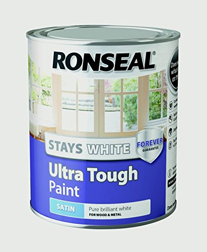 Ronseal Rslswutsp750 Stays Ultra Tough Satin Paint, White, 750 Ml