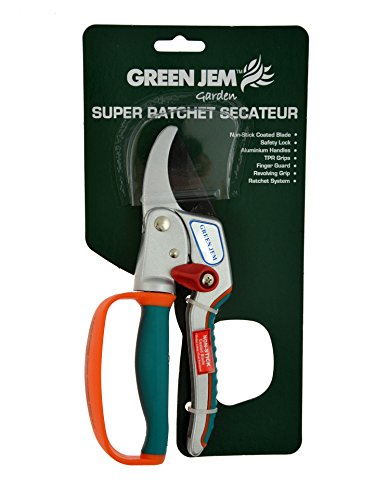 Green Jem Super Ratchet Secateurs - Orange