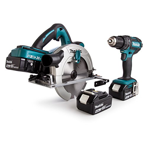 Makita Dlx2140pmj 18 V Li-ion Lxt 2 Piece Kit Comprising Twin 18 V Circular Saw And Combi Drill With 4 X 4.0 Ah Li-ion Batteries And Charger With 3 Makpac Cases