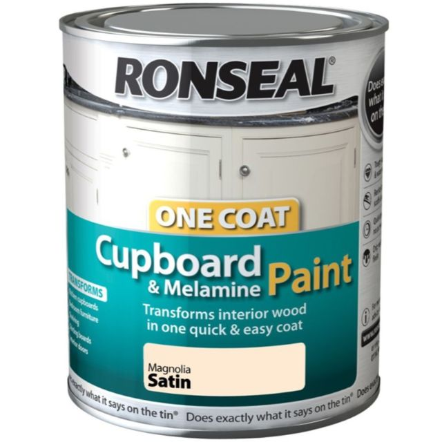 Ronseal One Coat Cupboard Melamine & MDF Paint - Magnolia Satin 750ml