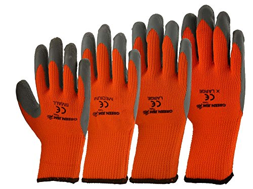 Green Jem High Vis Winter Work Gloves, Orange, Large