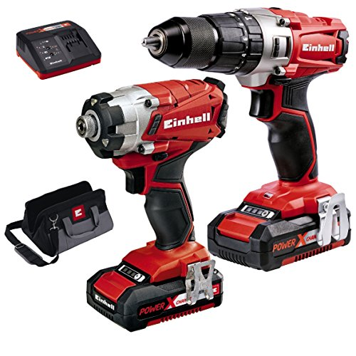 Einhell Power X-change Combi & Impact Driver Twin Pack 18v + 2 X 2.0ah Li-ion