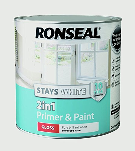 Ronseal Stays White 2-in-1 Primer And Paint Gloss, White, 2.5 Litre