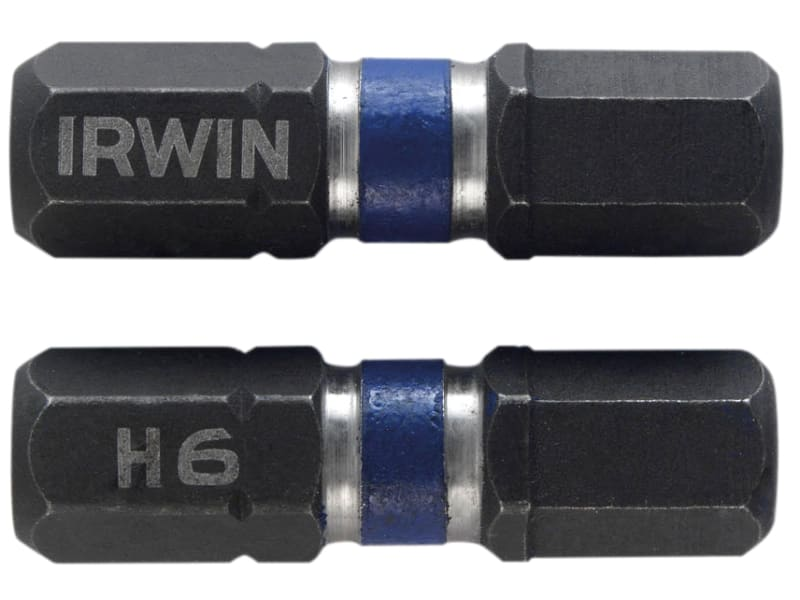 Irwin Impact Screwdriver Bits Hex 6 25mm Pack of 2