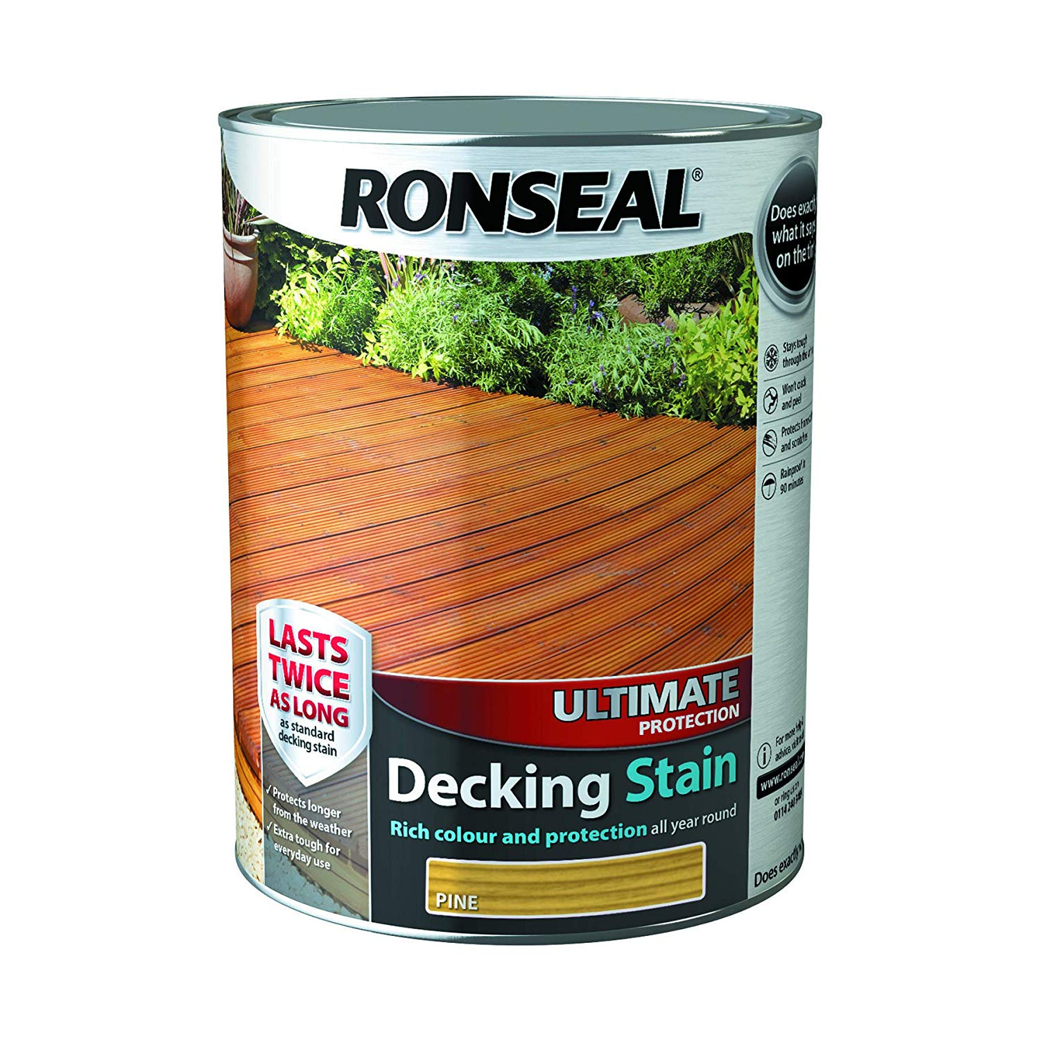 RONSEAL ULTIMATE PROTECTION DECKING STAIN  Natural Pine  5 Litres