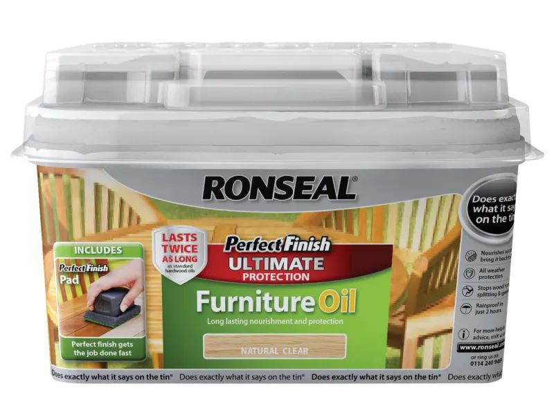 Ronseal 750ml Perfect Finish Hardwood Garden Furniture Oil - Teak
