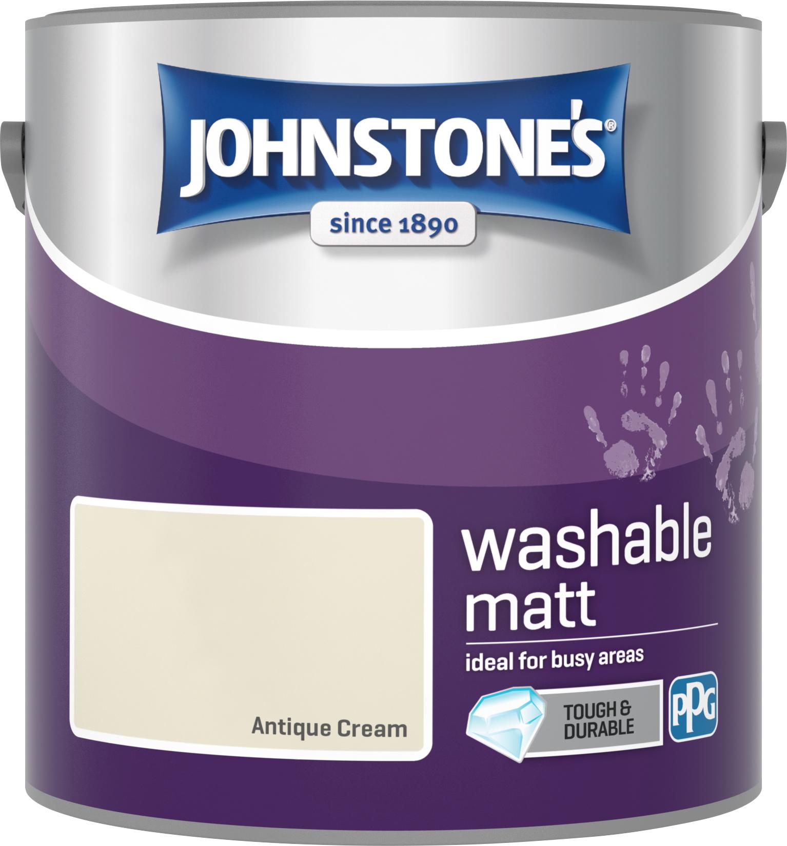 Johnstone's 2.5 Litre Washable Matt Emulsion Paint -  Antique Cream