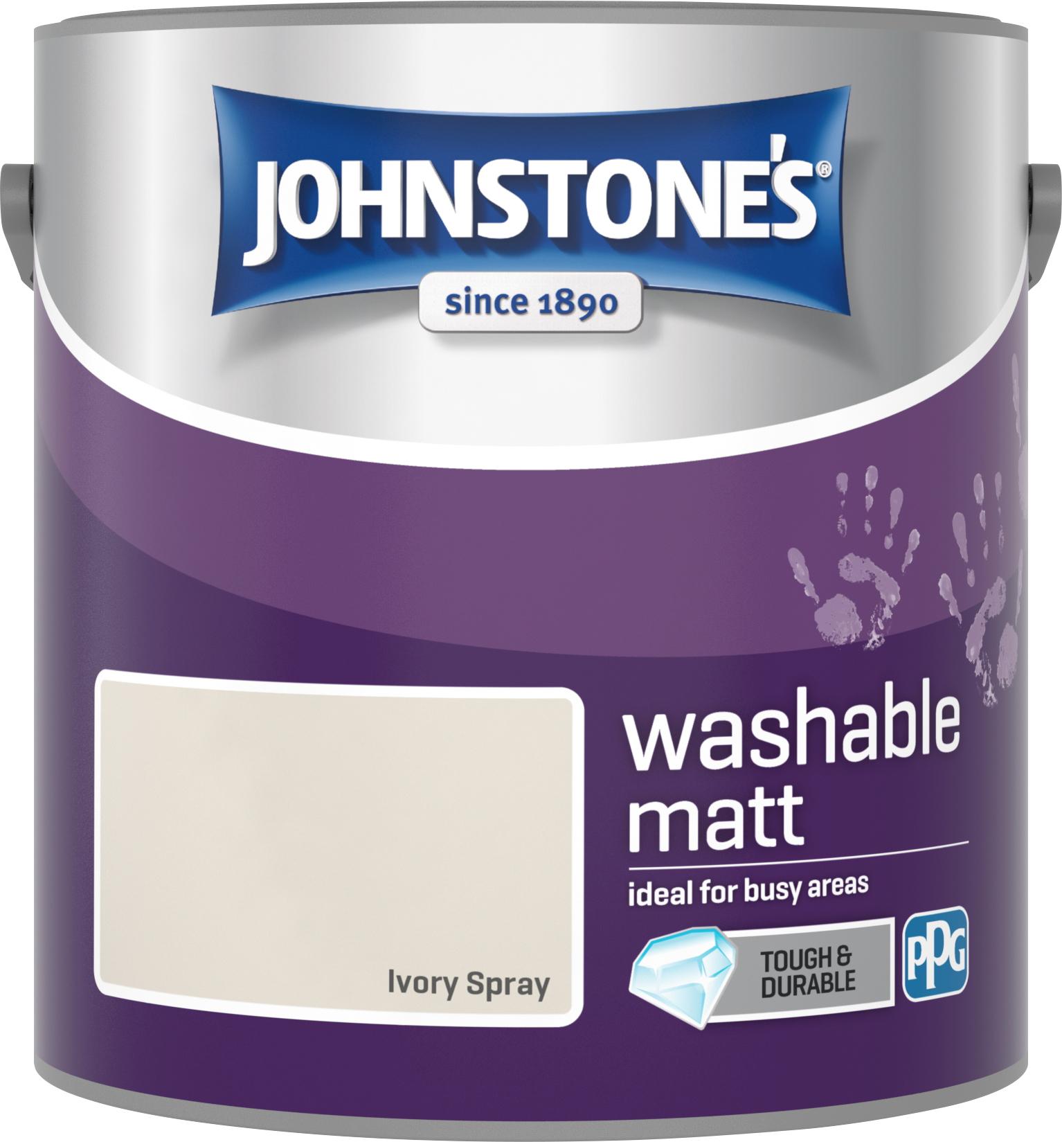 Johnstone's 2.5 Litre Washable Matt Emulsion Paint - Ivory Spary