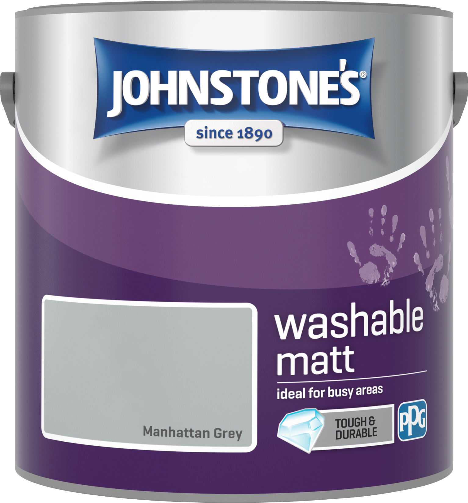 Johnstone's 2.5 Litre Washable Matt Emulsion Paint - Manhattan Grey