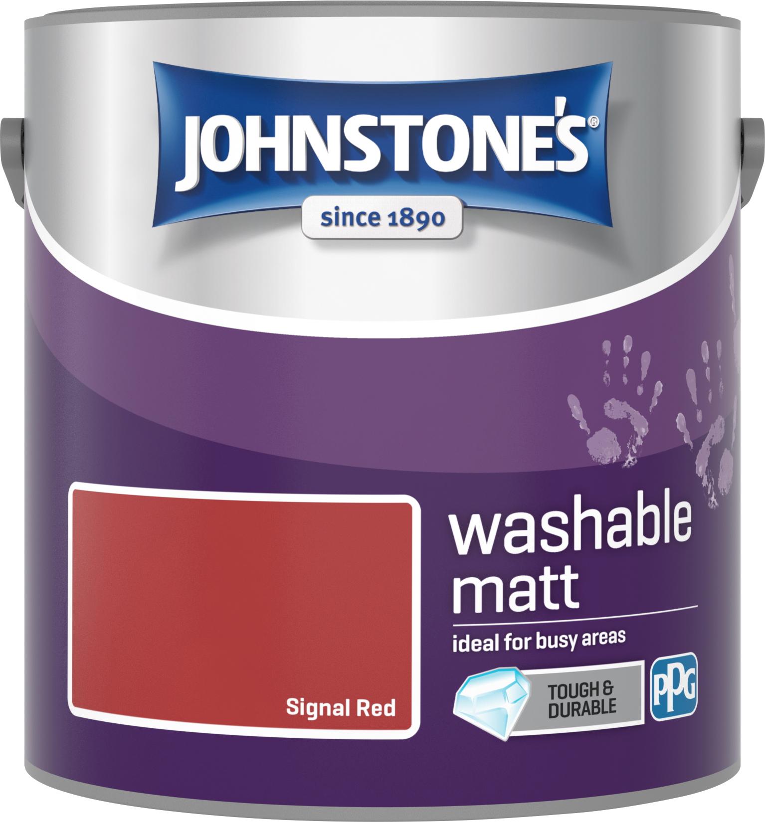 Johnstone's 2.5 Litre Washable Matt Emulsion Paint - Signal Red