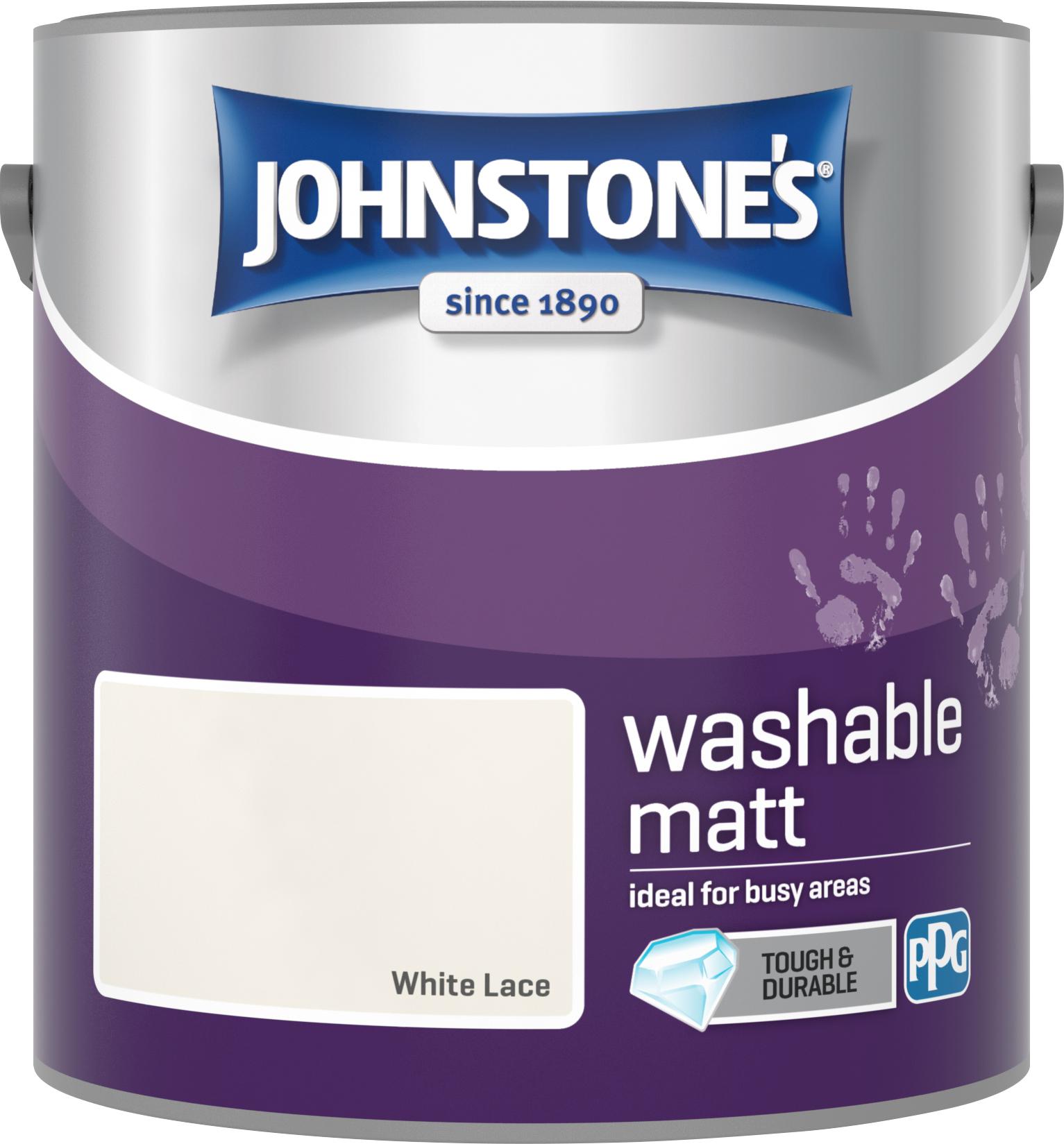 Johnstone's 2.5 Litre Washable Matt Emulsion Paint - White Lace
