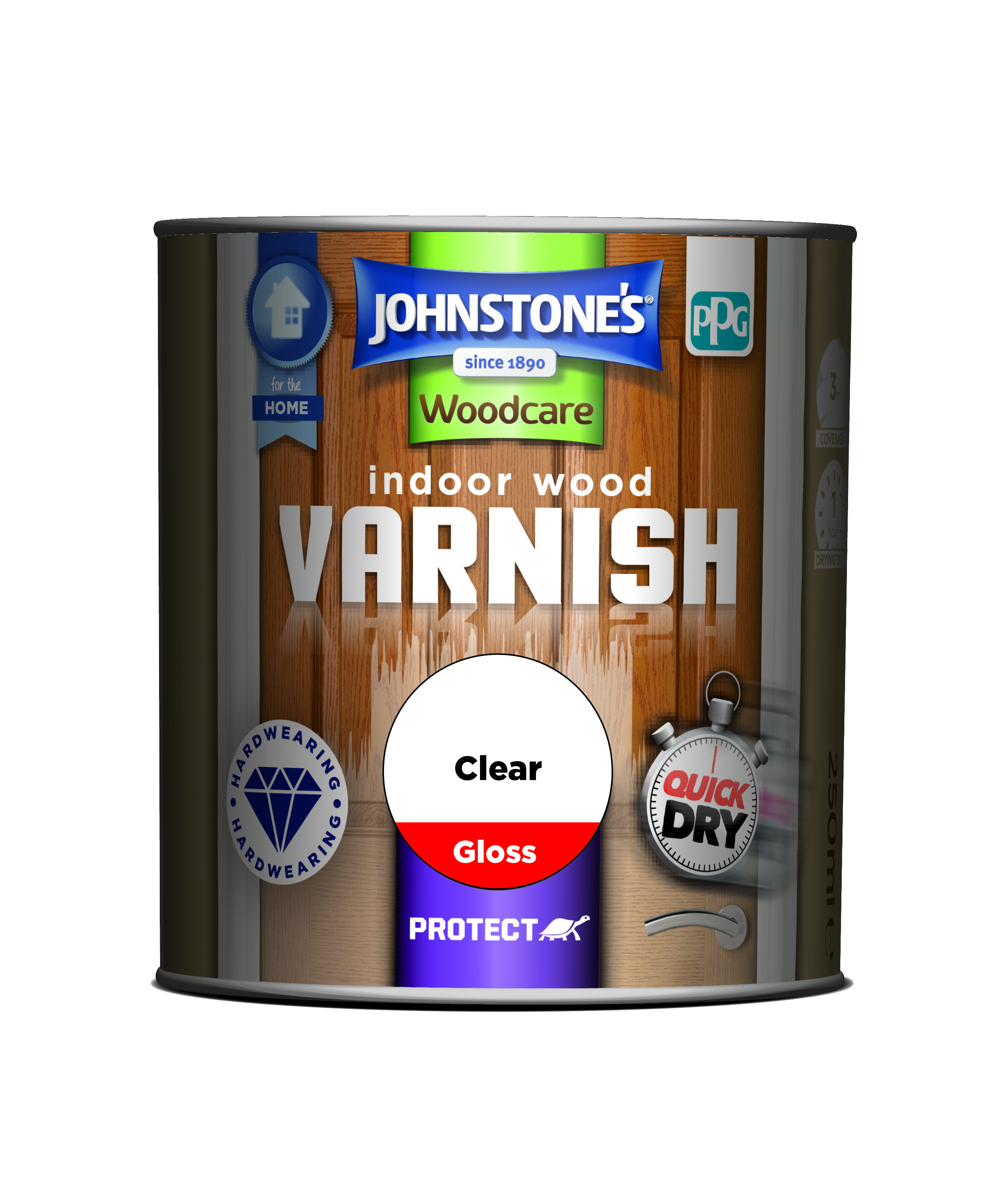 Johnstones Woodcare Quick Drying Interior Varnish Gloss Clear 250ml