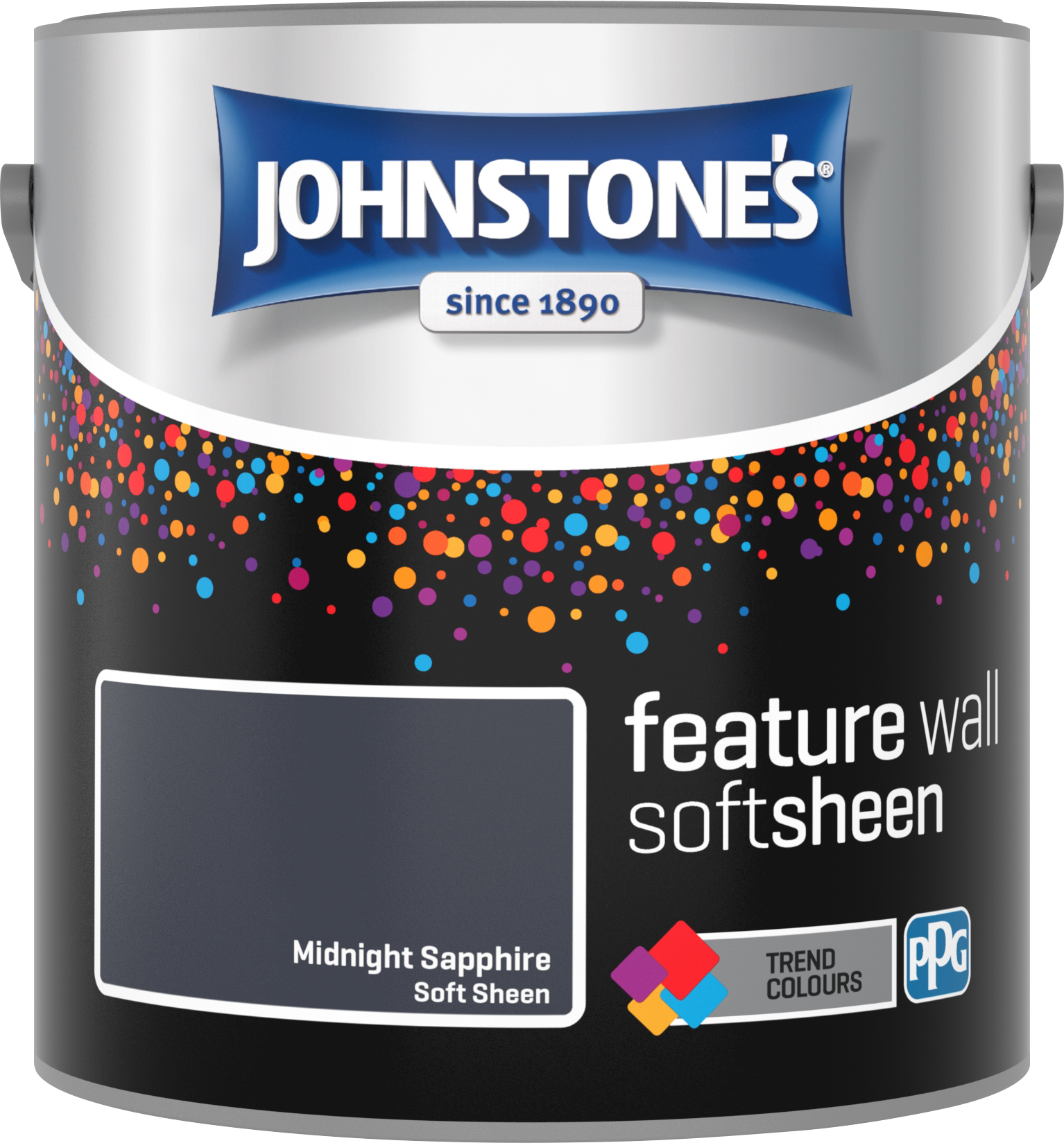 Johnstone's 2.5 Litre Feature Wall Soft Sheen Emulsion Paint - Midnight Sapphire