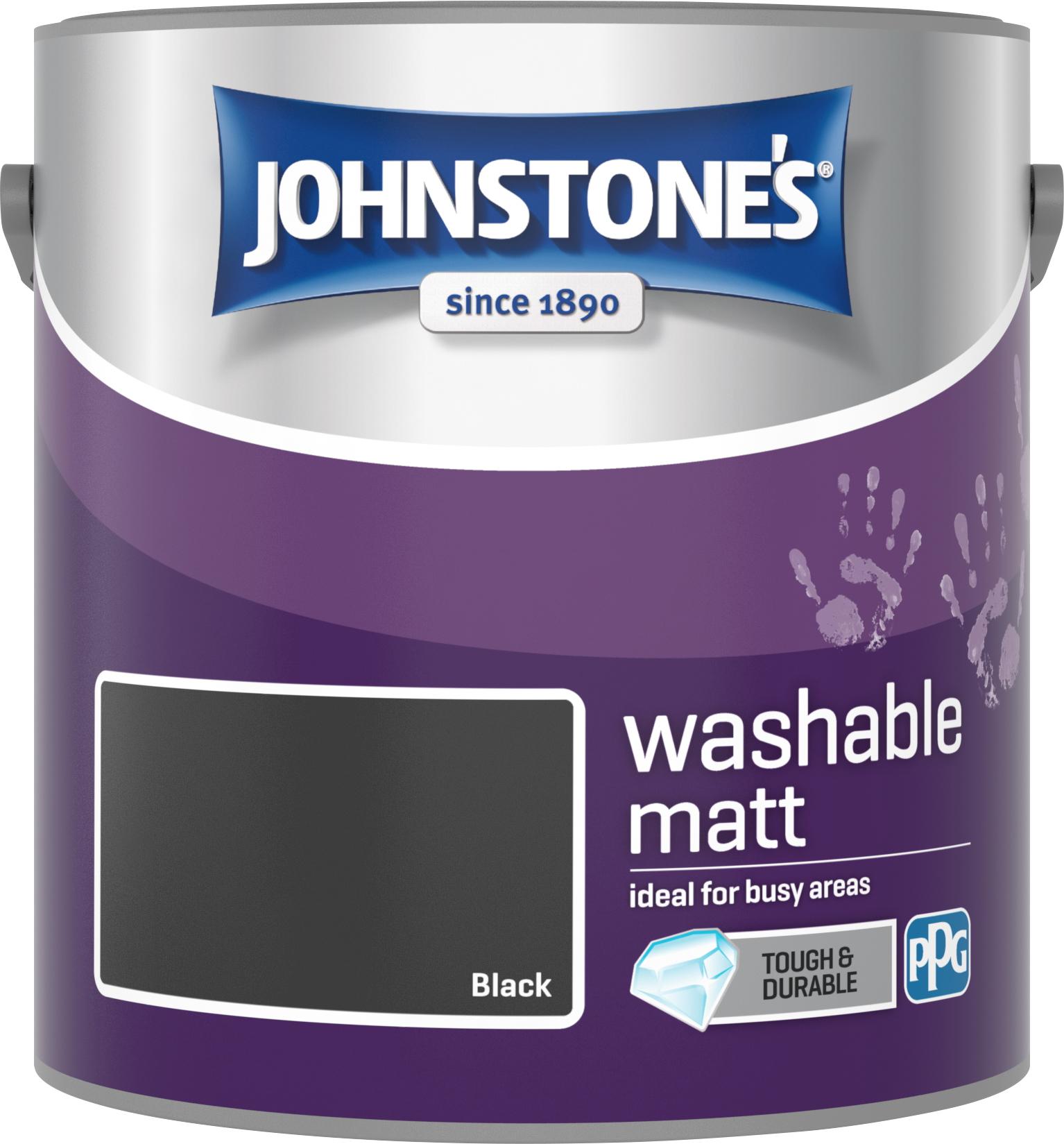 Johnstone's 2.5 Litre Washable Matt Emulsion Paint -  Black