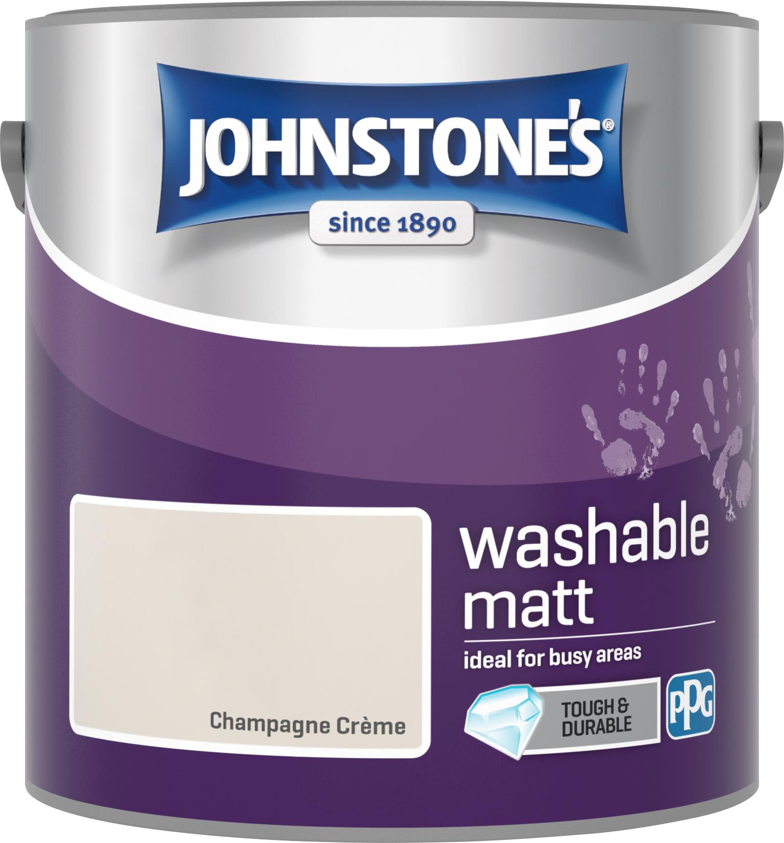 Johnstone's 2.5 Litre Washable Matt Emulsion Paint -  Champagne Creme