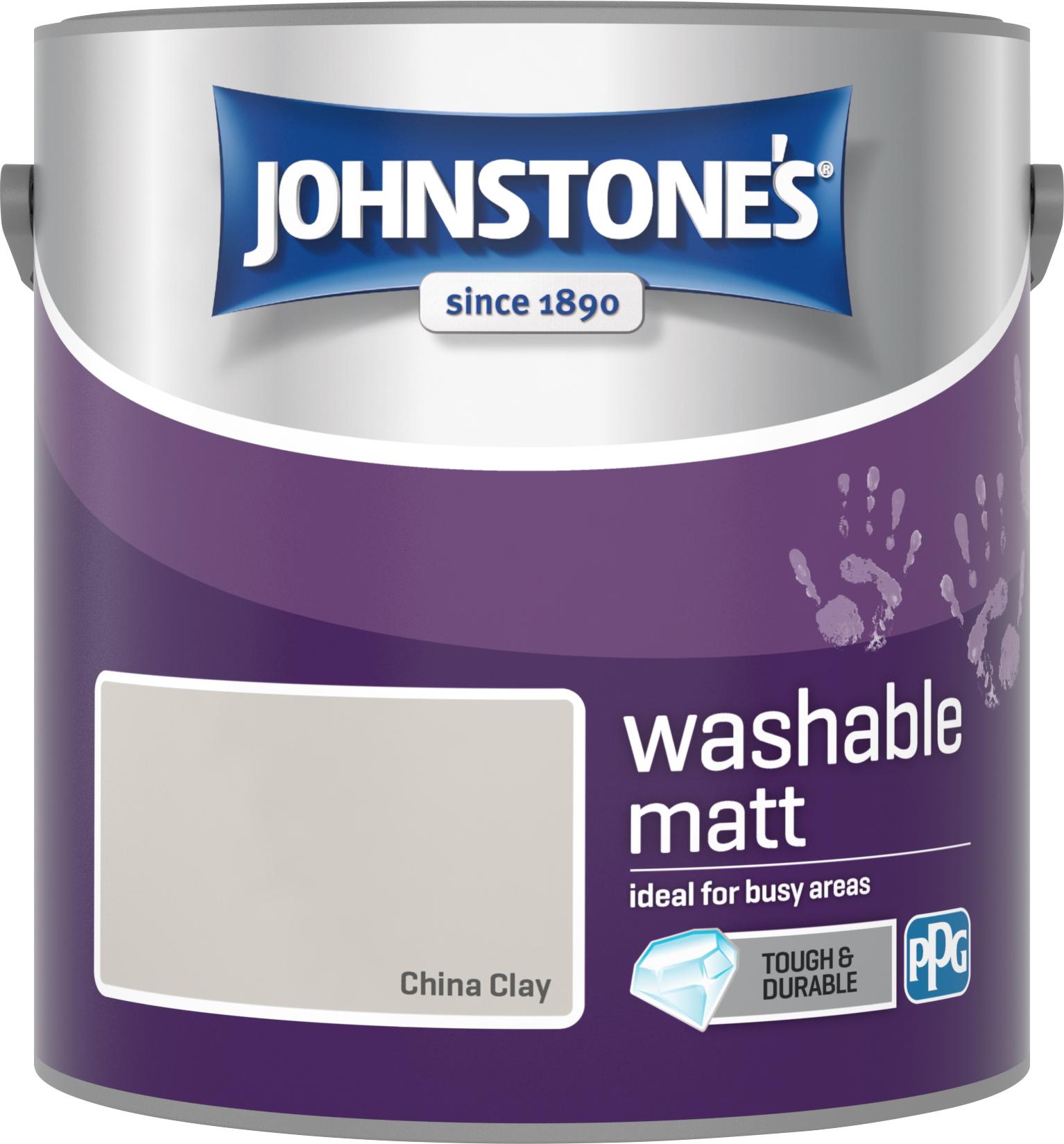 Johnstone's 2.5 Litre Washable Matt Emulsion Paint - China Clay
