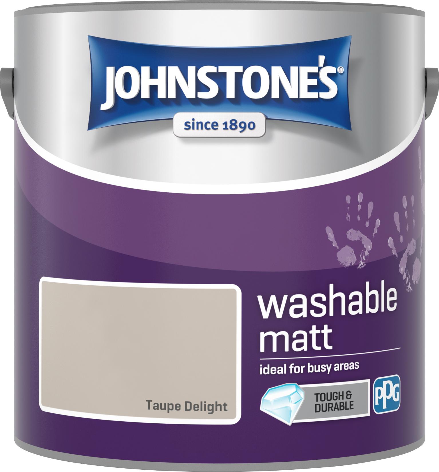 Johnstone's 2.5 Litre Washable Matt Emulsion Paint - Taupe Delight