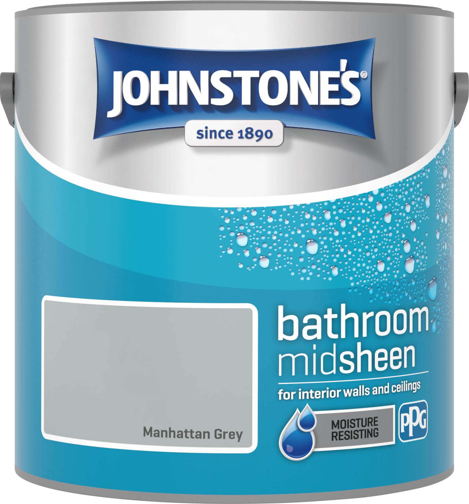 Johnstone's 2.5 Litre Bathroom Paint - Manhattan Grey