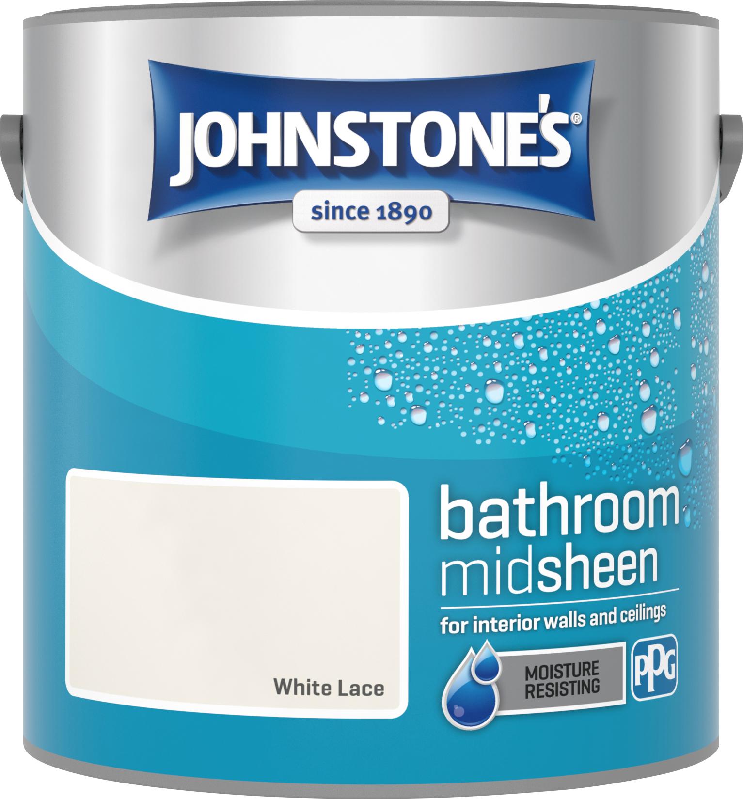 Johnstone's 2.5 Litre Bathroom Paint - White Lace