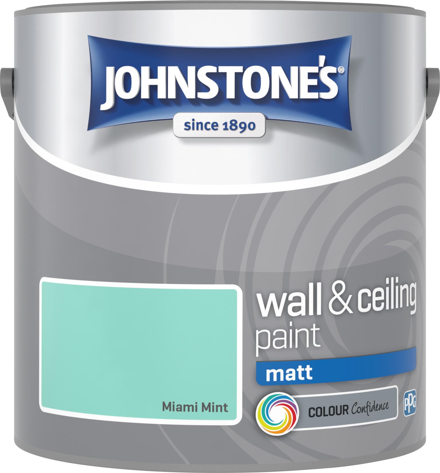 Johnstone's 2.5 Litre Matt Emulsion Paint - Miami Mint
