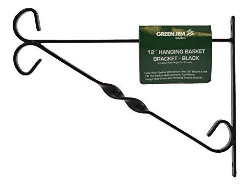 Green Jem 12-inch Hanging Basket Bracket - Black