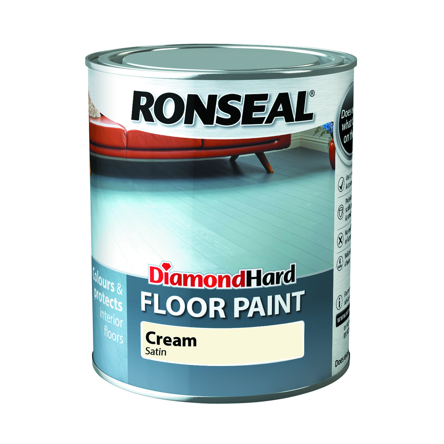 Ronseal Diamond Hard Floor Paint 2.5l Cream
