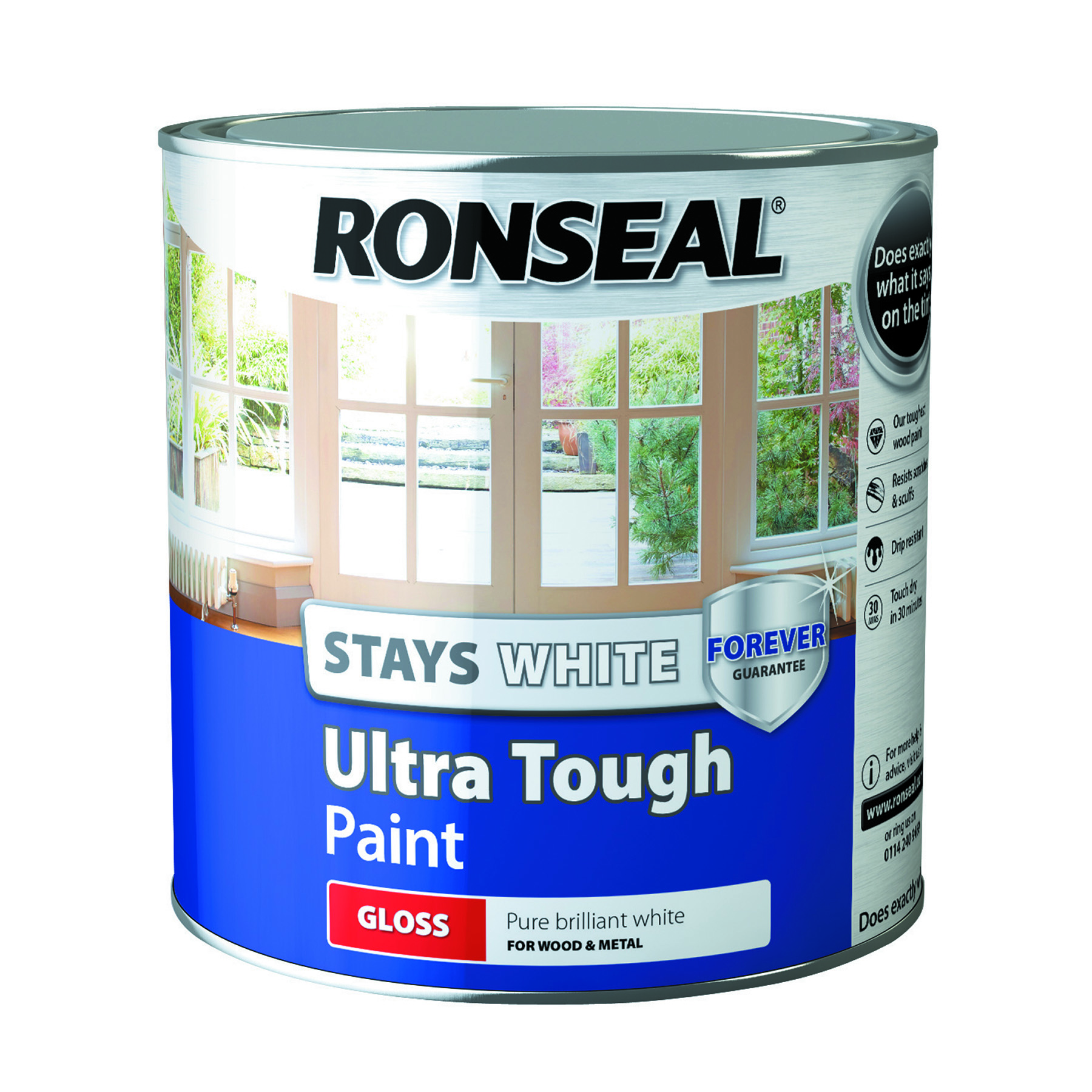 Ronseal Stays White Ultra Tough Interior Wood Paint White Gloss - 2.5l
