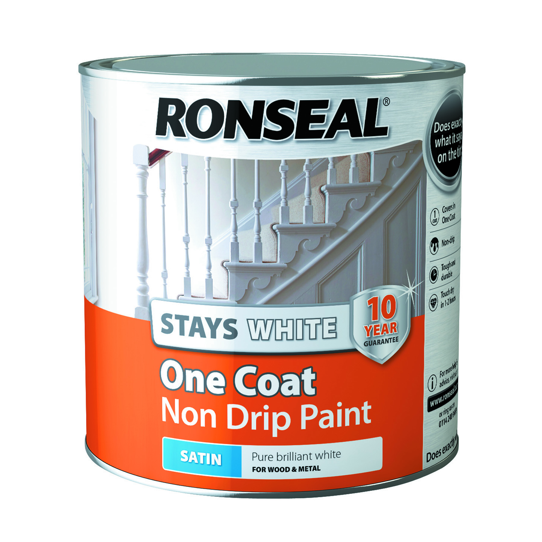 Ronseal Stays White One Coat Interior Wood Paint White Satin - 2.5l