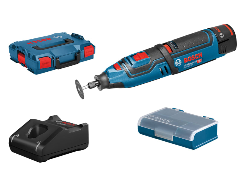 Bosch GRO 12V-35 Cordless Rotary Tool with accessories