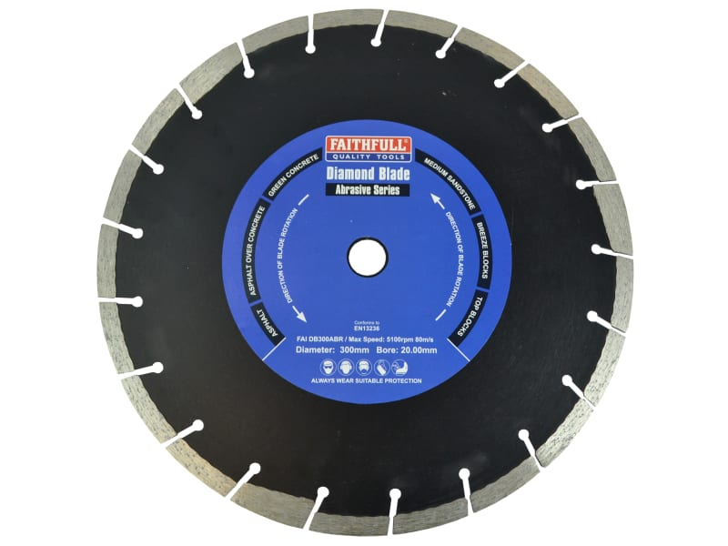 Faithfull Abrasive Diamond Blade 300 x 20mm