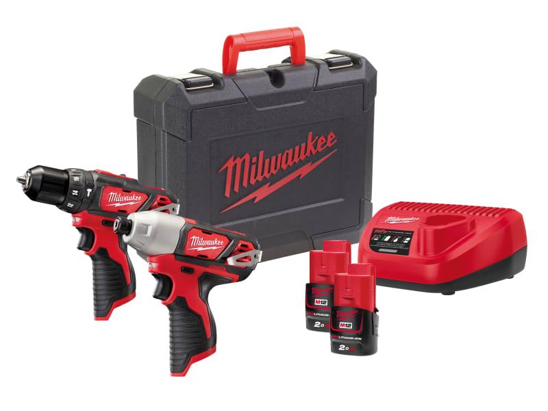 Milwaukee M12 2BPP2B-202C Brushed Twin Pack 12V 2 x 2.0Ah Li-ion