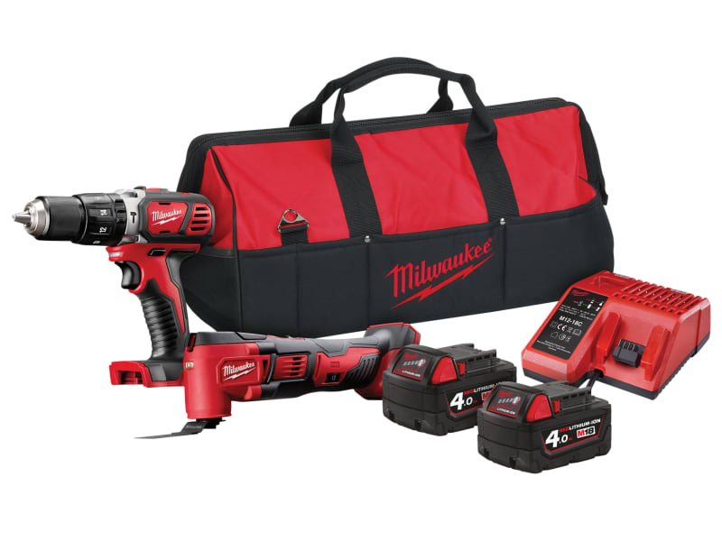 Milwaukee M18 BPP2P-402B Combi Multi-Tool Twin Pack 18V 2 x 4.0Ah Li-ion