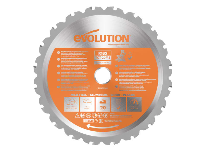 Evolution Rage Multipurpose Circular Saw Blade 185 X 20mm X 20t