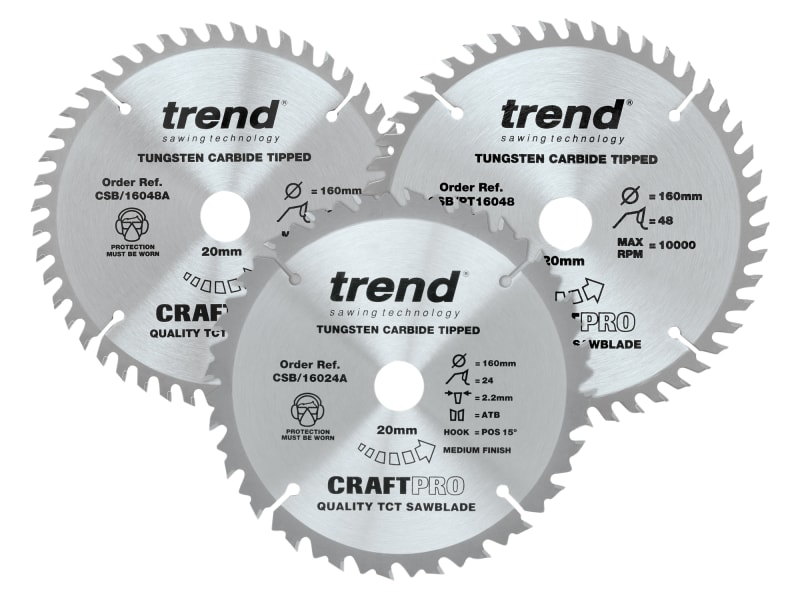 CraftPro Plunge Saw Blade 160 x 20mm x 24T/48T (Pack 3)