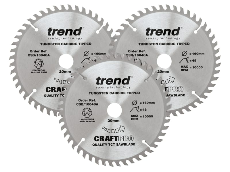 CraftPro Plunge Saw Blade 160 x 20mm x 48T (Pack 3)