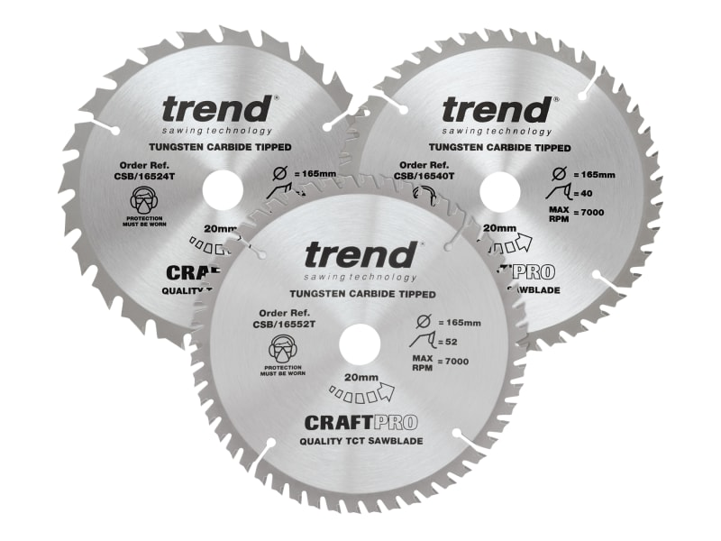 Trend CraftPro Cordless Saw Blade 165 x 20mm x 24T/40T/52T (Pack 3)