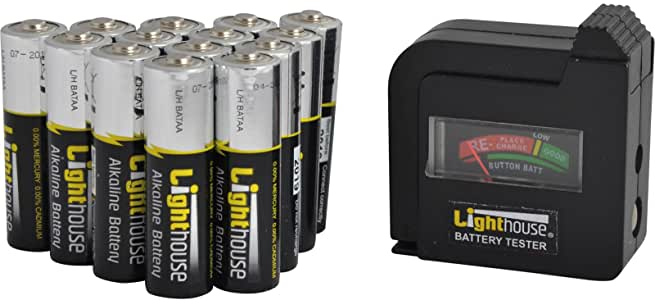 Lighthouse AA Batteries Bulk Pack (14) + Tester