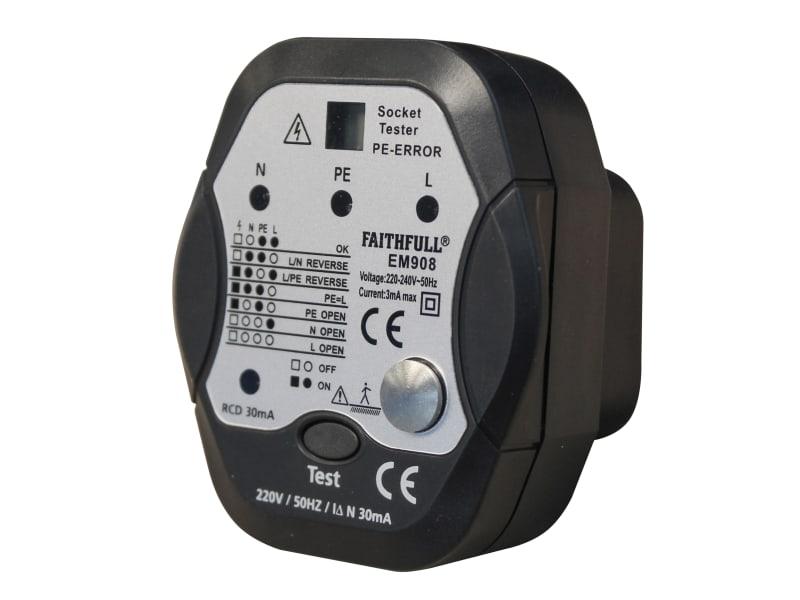 Faithfull Socket Polarity Tester with RCD Test Function