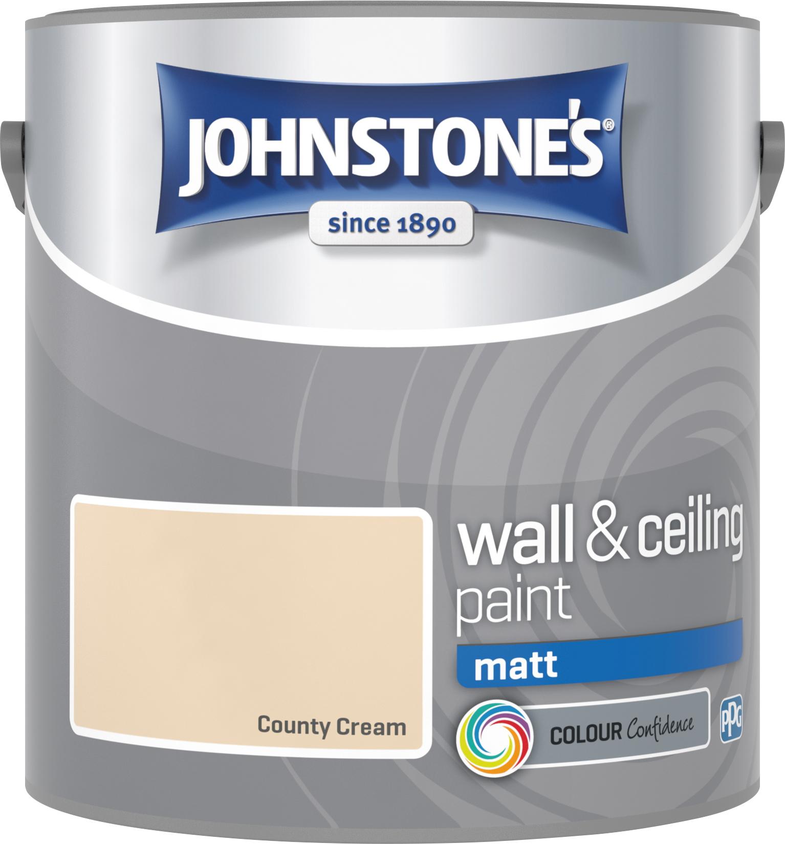 Johnstone's 304016 2.5 Litre Matt Emulsion Paint - County Cream